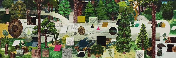 모든 것과 아무것도_쓰러진 흰 나무와 숲, watercolor on canvas, 100 x 300 cm, 2017