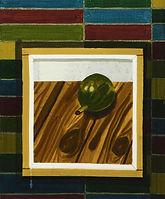 액자 속 열매, watercolor on canvas, 45.5 x 38 cm, 2016