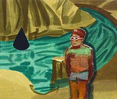 파란색 원뿔, watercolor on canvas, 53 x 45.5 cm, 2016