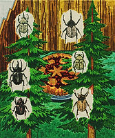 곤충과 라즈베리 파이, 2018, watercolor on canvas, 45.5x38cm