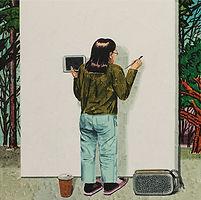그림자를 그리는 사람, 2018, watercolor on canvas, 45.5x45.5cm