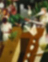 아득한 진술(검은 원, 하얀 원), watercolor on canvas, 116.8 x 91 cm, 2015