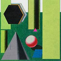 푸른 각도와 붉은 각도, watercolor on canvas, 130.3x130.3cm, 2018