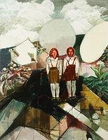환영 인사(구름 사이에서), watercolor on canvas, 145.5 x 112 cm, 2014