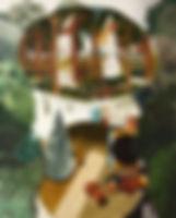 둥근 낮과 꿈, watercolor on canvas, 162 x 130.3 cm, 2016