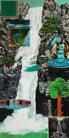 폭포, watercolor on canvas, 200x100cm, 2018