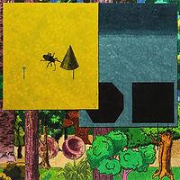 곤충과 원뿔, watercolor on canvas, 100x100cm, 2018
