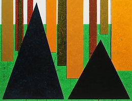 두 개의 산, watercolor on canvas, 112x145.5cm, 2018