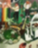하나의 초원과 두 개의 정원, watercolor on canvas, 162.2 x 130.3 cm, 2015