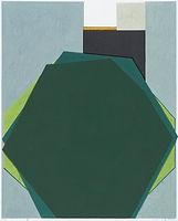 녹색 도형 얼굴, watercolor on canvas, 162.2x130.3cm, 2018
