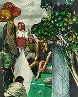 원뿔 합창-산의 노래, watercolor on canvas, 162.2x130.3cm, 2014