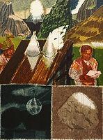 뿔과 빛나는 돌, watercolor on canvas,130.3 x 97 cm, 2016