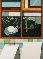 두 개의 그림, watercolor on canvas, 91 x 65 cm, 2016