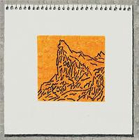 메모지 위의 산, watercolor on canvas, 30 x 30 cm, 2017