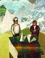 뿔과 대화들, watercolor on canvas, 145.5x112 cm, 2014