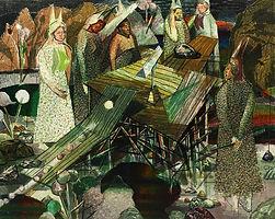 욕심의 뿔들과 공, watercolor on canvas, 130.3 x 162 cm, 2014