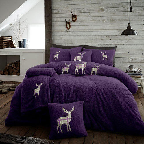 Stag Embroidered Soft Teddy Feel Duvet Set