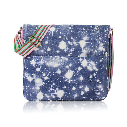 Galaxy Print Canvas Cross Body Bag Navy Blue