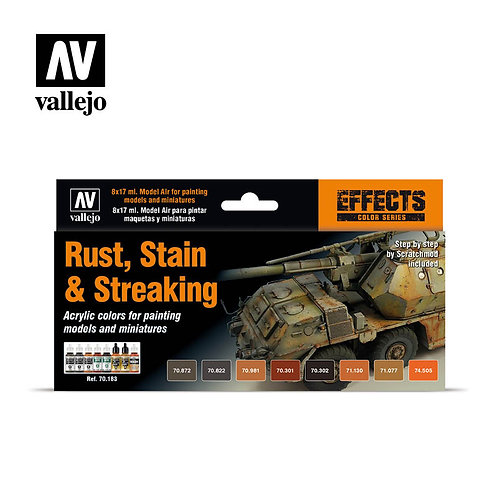Vallejo - Rust, Stain and Streaking Set - 70.183
