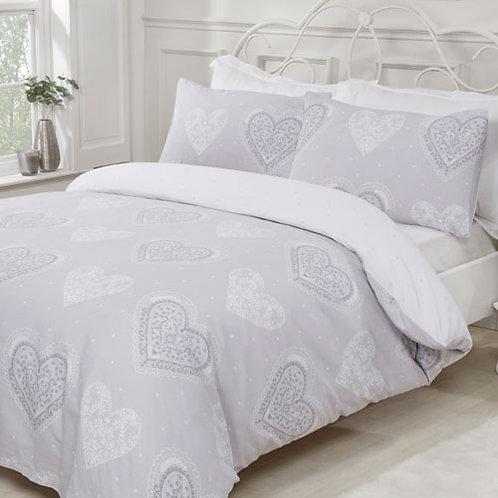 Decorative Hearts Grey Duvet Set