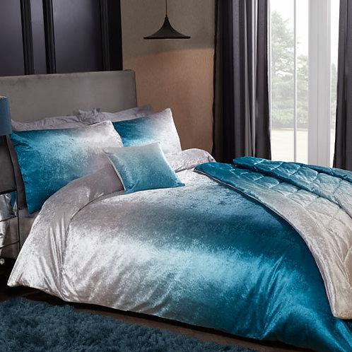 Luxury Ombre Velvet Duvet Set Blue
