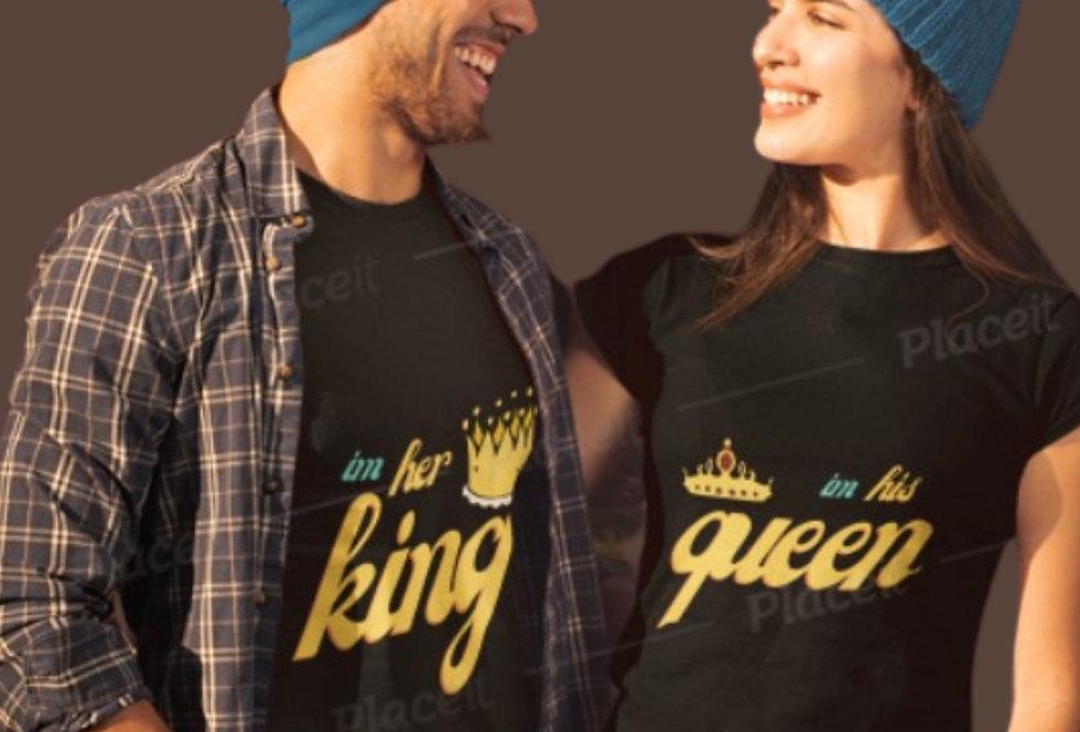 her king her queen couple t shirt