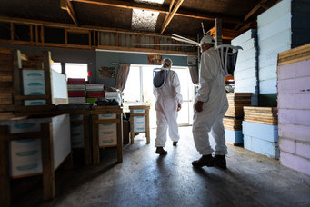 Beekeepers in the shed