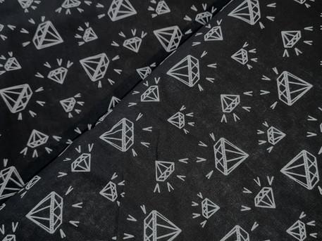 Diamanten schwarz Meerschweinchen Baumwolle