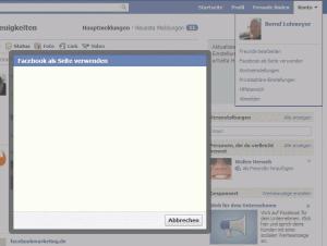 """Der Dialog """"Facebook als Seite verwenden"""""""