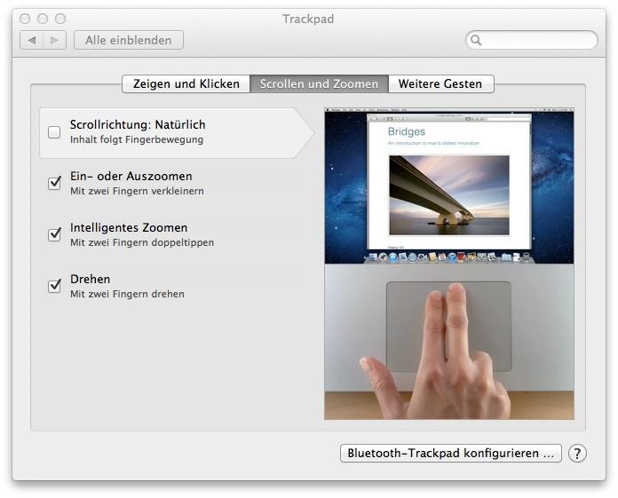 OS X Lion > Systemeinstellungen für das Trackpad