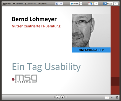 Slideshare: Usability Schulung bei msg systems AG, 2012 02 17