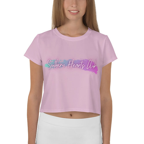 Southern Hearts Club Crop Tee-Pink