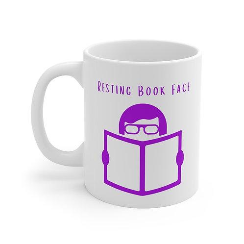 Resting Book Face Mug-Purple