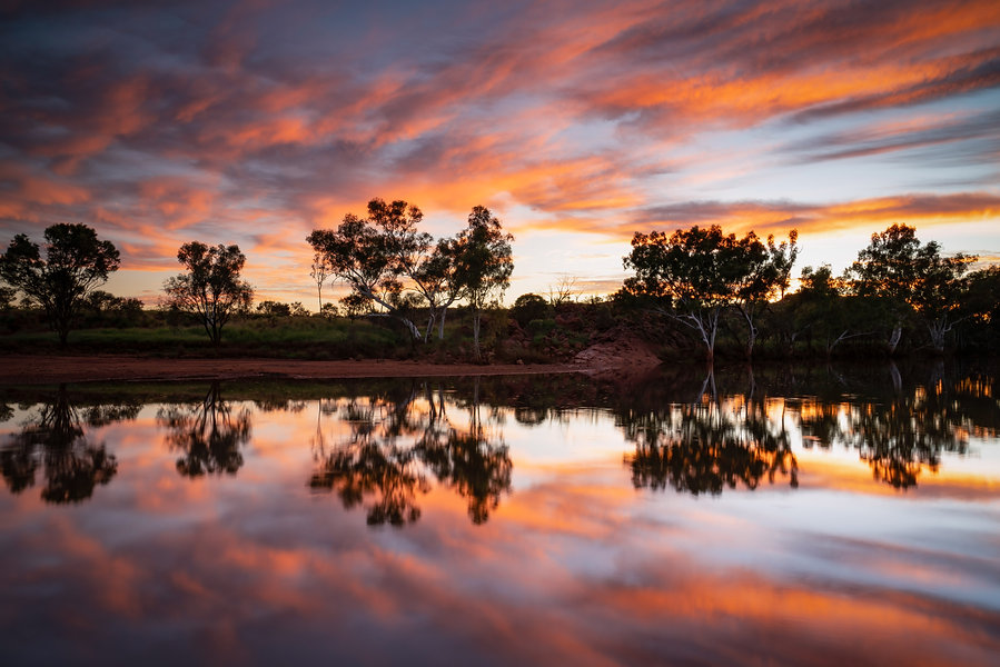 A beautiful calm and colourful start to the day out at Sandy Creek, Newman.