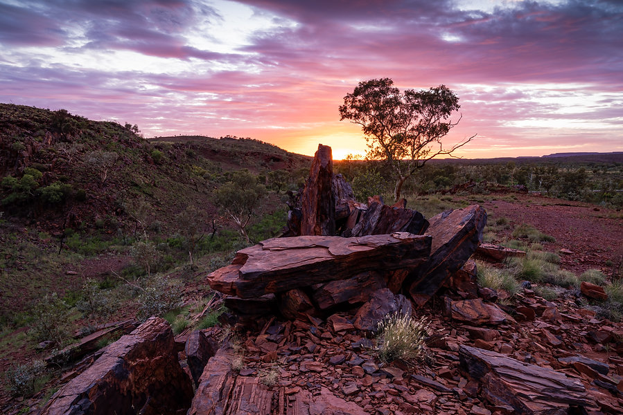 """Everything """"Pilbara"""" in this image. The rocks, colours of the skies and the landscape."""