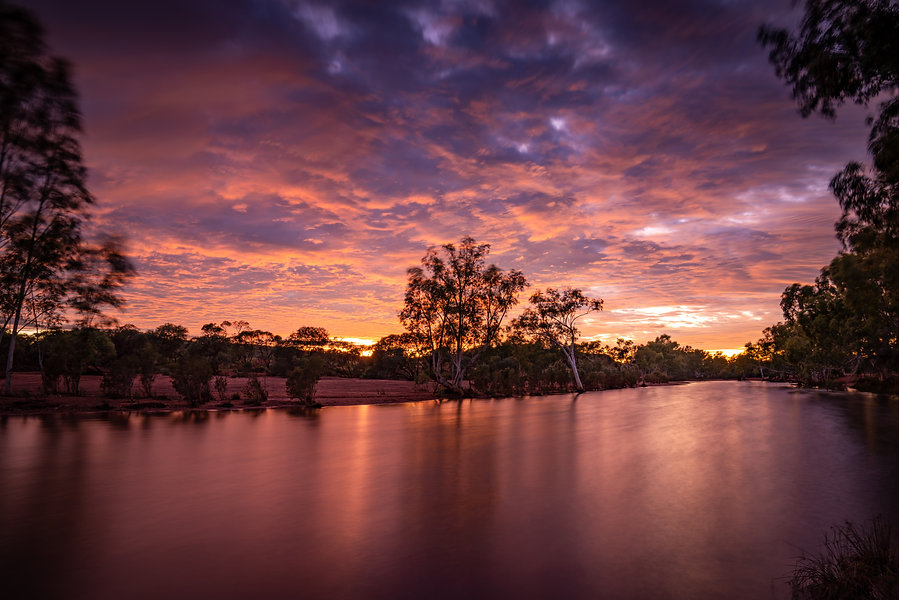 A windy but very colourful sunrise at Sandy Creek.