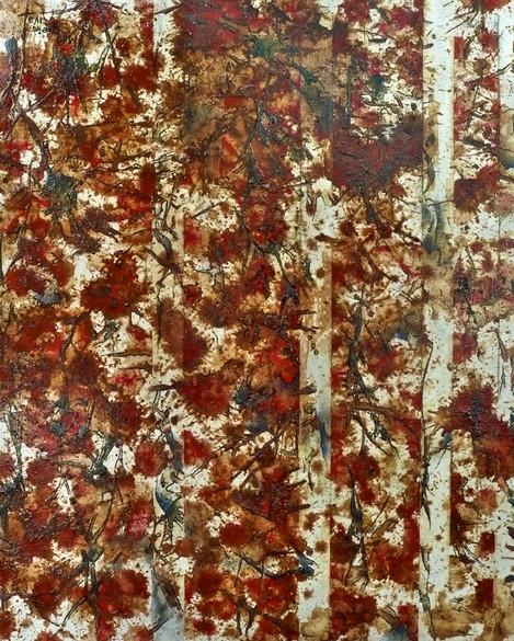 Tais girl (Bi Tais), 2013. 50x41cm (x2). Mixed media on canvas: acrylic, gesso, impasto gel, red earth, pencil, betel nut, rock powder, shellac, ink, glue and sealer