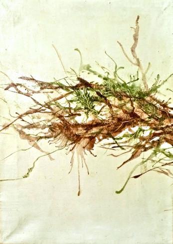 Laclo River (Mota Laclo), 2013. 35x25cm (x3), mixed media on canvas: rock powder, glue and sealer