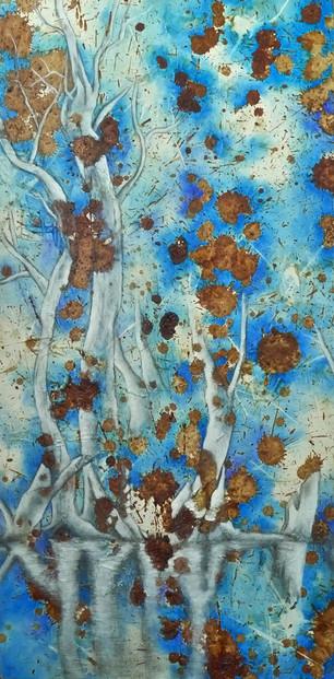 Dear Mother Earth I, II & III (Ina Lou I, II & III), 2010. 91x46 cm (x3), mixed media on canvas: acrylic, gesso, impasto gel, pencil, betel nut, glue and sealer