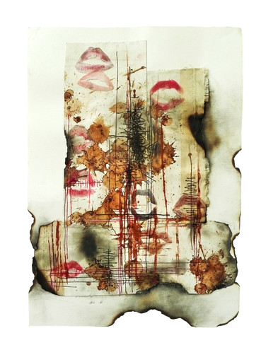Contemporary issues (Asuntus kontemporáneus), 2014 42x30cm (x16), mixed media on canvas: acrylic, gesso, impasto gel, red earth, lipstick, pencil, charcoal, betel nut, shellac, ink, glue, sealer and tais (traditional East Timorese cloth)
