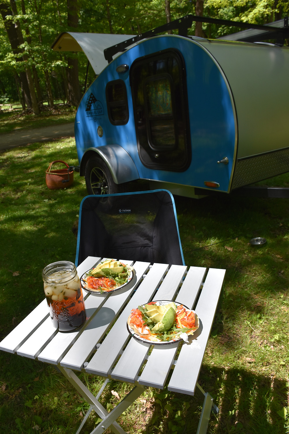 A recent meal with our teardrop and Helinox chair