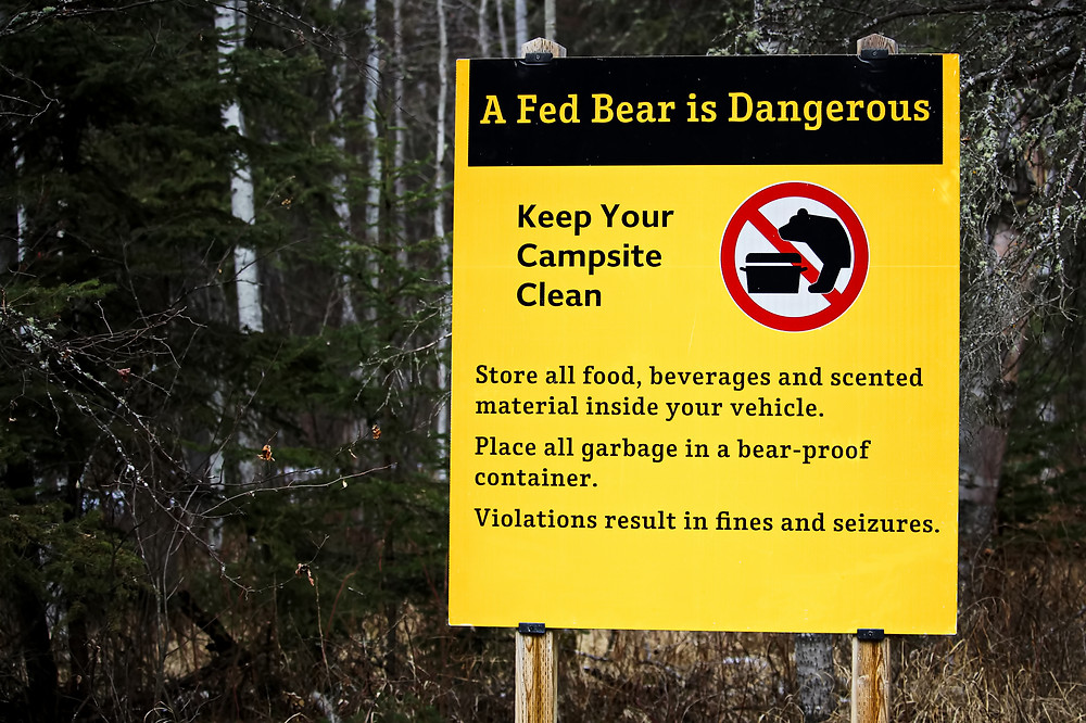"""A caution sign that says """"A Fed Bear is Dangerous.  Keep your campsite clean. Store all food, beverages and scented material inside your vehicle."""""""