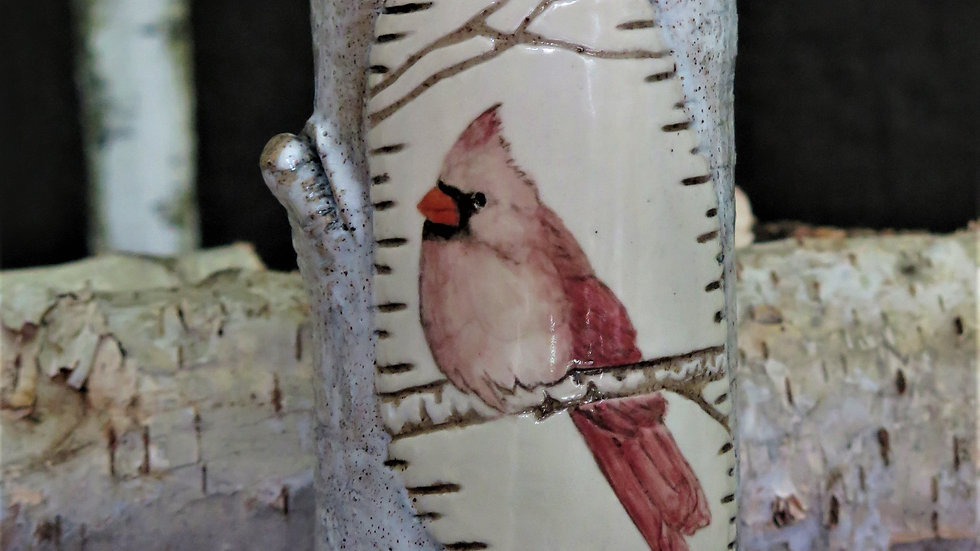 Female Cardinal Vase