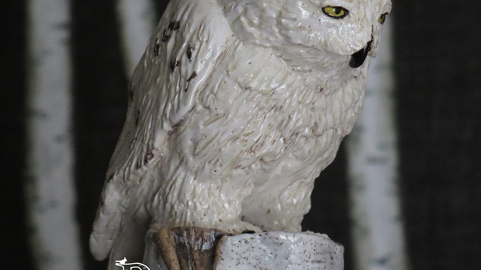 Snowy Owl Birch Vase