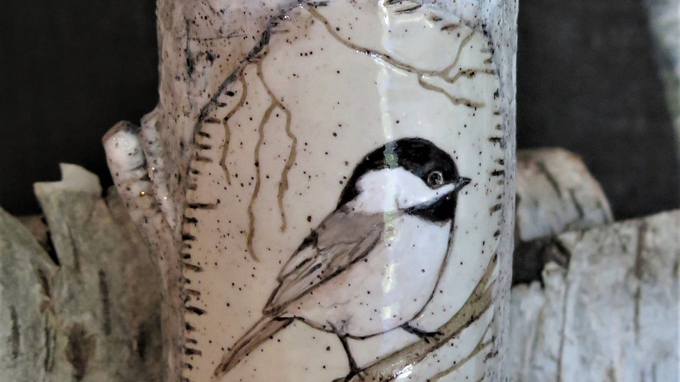 Black Capped Chickadee Vase