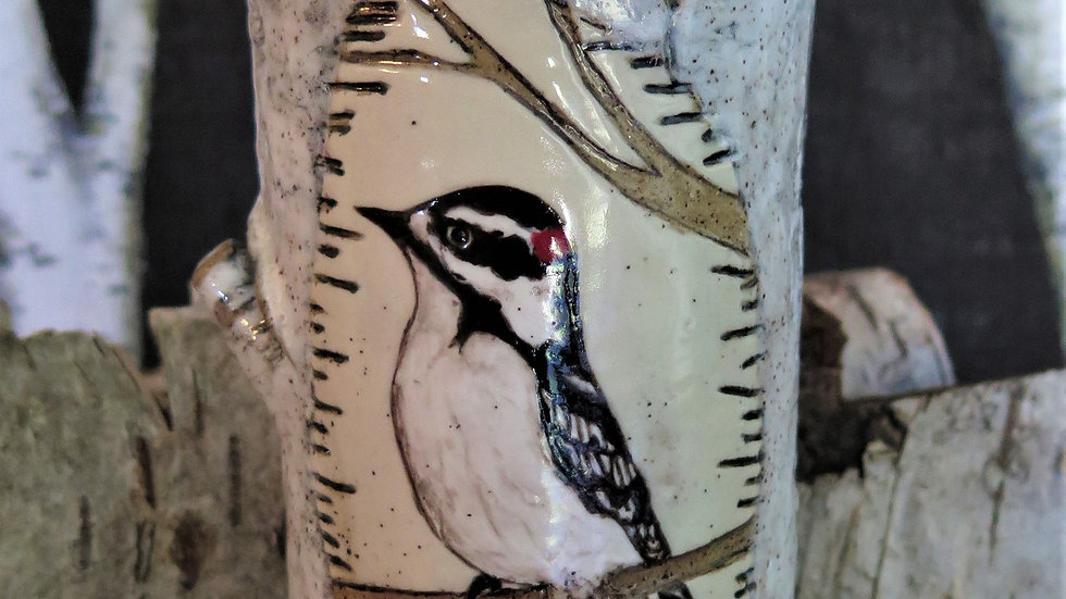 Downy Woodpecker Vase