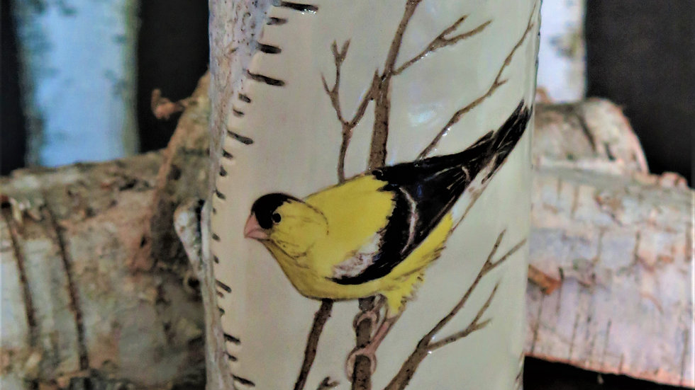 American Gold Finch Vase