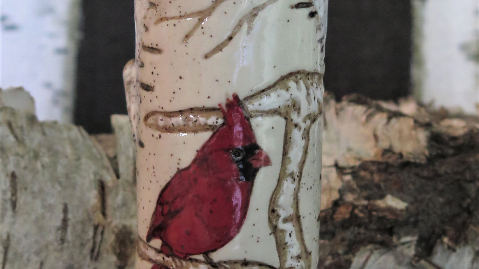 Cardinal Bud Vase with branch work