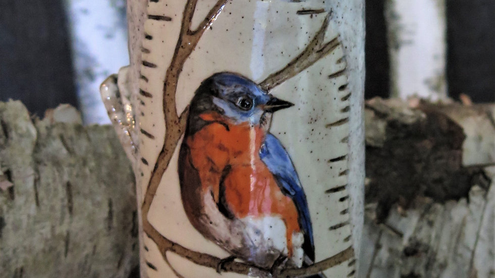 Eastern Blue Bird Vase