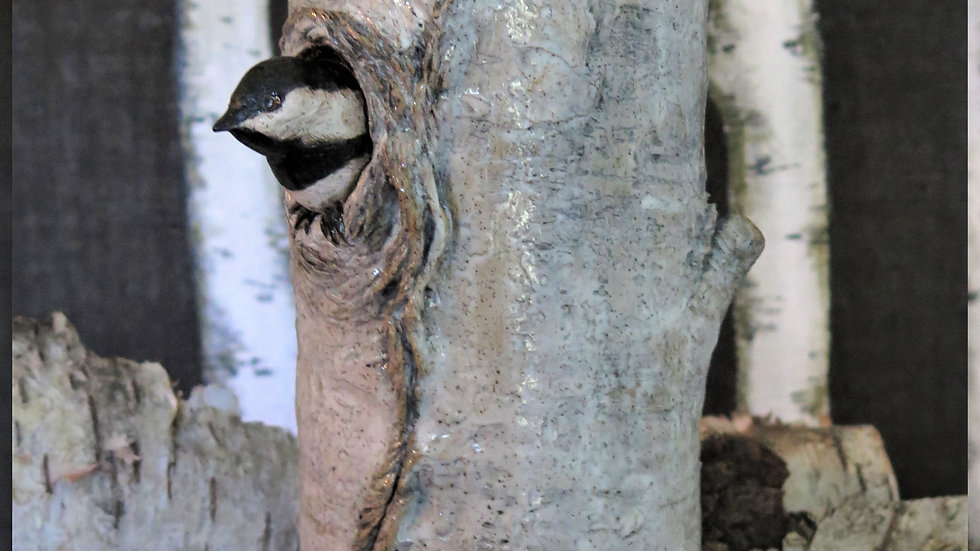 Peek A Boo Chickadee Vase